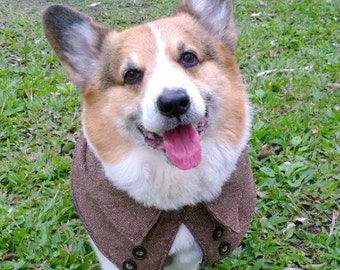 Dog tweed cape with fleece lining Pet wool herringbone tweed capelet Winter dog clothes Christmas holiday Halloween dog cape coat ( Size MS)