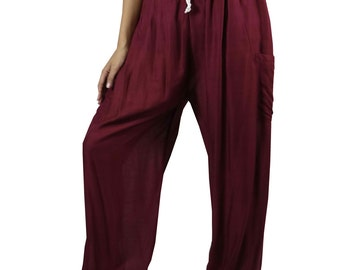 Boho pants Aladin pants Unisex Harem pants Yoga Pants Aladdin Pants Rayon Pants Genie Pants Trouser DarkCrimson
