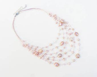 Multistrands pink freshwater pearl necklace with crystal, pale pink glass pearls on silk thread