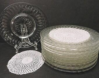 Cut Glass Appetizer Plates Set of 12 Hors D'oeuvre Canape Sandwich Plates Bar Cart Serving Plates