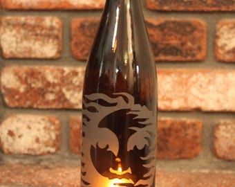 Lantern Fire Sun - Amber (Stand & Candle Included) Windcatcher, Eco Friendly, Green, Upcycle, Recycle, Winebottle