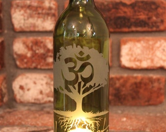 Lantern Namaste Tree - Green (Stand & Candle Included) , Zen Garden, Candle, Outdoor, Lighting, Upcycled, Yoga, Eco Friendly