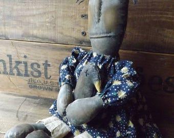 Black Rag Doll Primitive Black Rag Doll Handmade Rag Doll