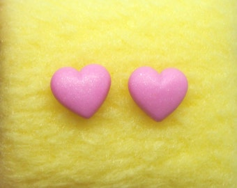 Tiny pink sparkly heart polymer clay stud earrings