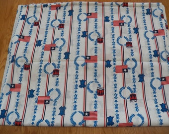 Vintage 4th of JULY Material Fabric Red/White/Blue~Bell~Flag 2 yds x 44 inches
