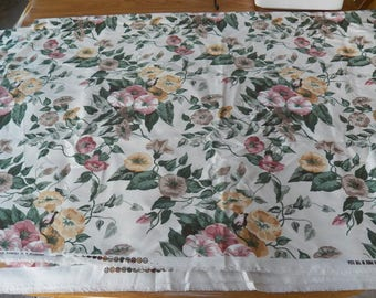 Vintage Upholstery Fabric~WESTERN TEXTILE Screen Print Floral~Morning Glories 9.5 Yards