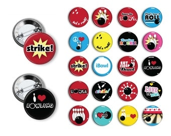 Bowling Buttons Bowling Party Sport Theme  Pin Back Button Party Favors  1.25 inch Buttons Pins Magnets