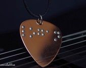 Braille necklace, braille jewelry, braille pendant, guitar pick necklace, 5 letters
