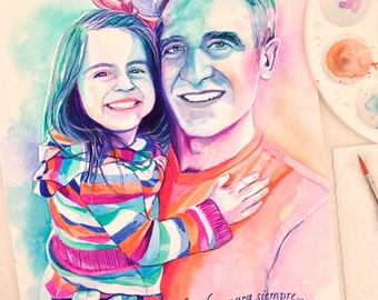 GIFT IDEAS for DAD from daughter, birthday gift, portrait of dad and daughter, father and daughter custom portrait painting from photo