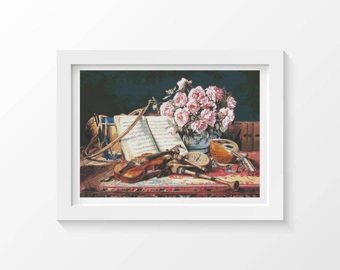 Cross Stitch Pattern PDF, Musical Still Life byles Antoine Loyeux, Floral Cross Stitch, Flowers Cross Stitch, Art Cross Stitch (LOYEU01)