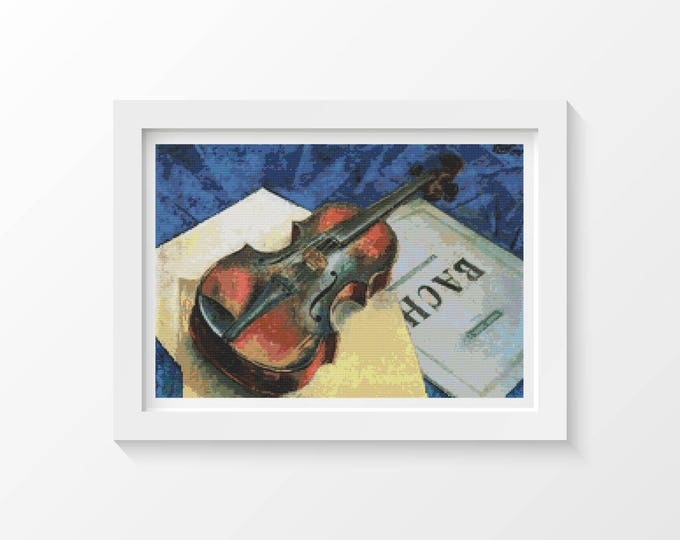A Still Life With Violin Cross Stitch Pattern PDF by Kuzma Petrov Vodkin (VODKI02)