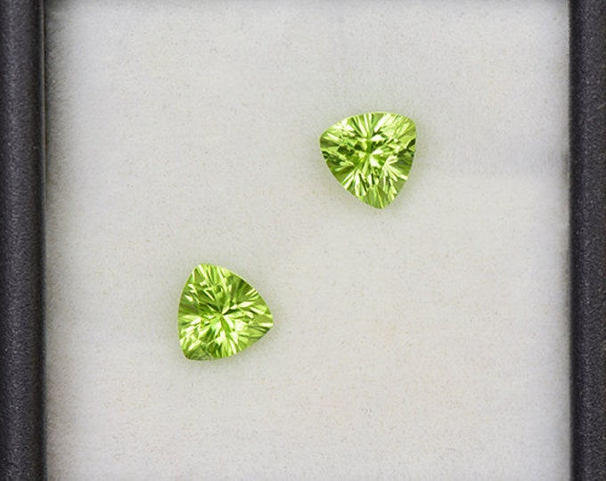 Stunning Bright Green Concave Cut Peridot Match Gemstone Pair from Pakistan 1.42 tcw.