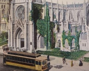 Grace Church, New York City, 1912, Antique Postcard, Broadway & East 10th St., Trolley