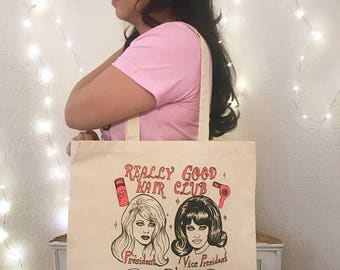 Really Good Hair Club neon red ink tote