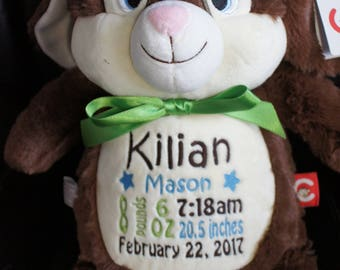 """Personalized Baby Gift, """"Baby Cubbies"""" Munchkin Pie the Rabbit, Birth announcement stuffed animal keepsake with machine embroidery"""