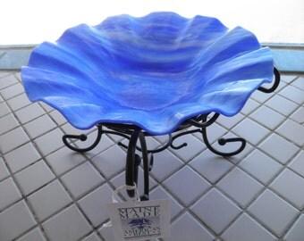 Blue Streaky Stained Glass Bowl or Bird Bath Feeder