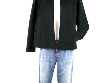 1950s Black Cropped Wool Swing Jacket National Suit and Jacket Industry Recovery Board Label
