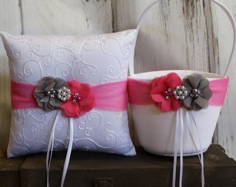 Your Colors , Flower Girl Basket and Ring Bearer Pillow Set , Gray and Hot Pink Ring Bearer Pillow , Flower Girl Basket , Wedding Pillow