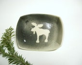 Ceramic Soap Dish with Moose design in Feathered Gray and White, Ring Holder Dish Pottery Ready to ship