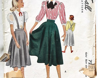 Vintage Sewing Pattern- 1950s Girls Blouse and Circle Skirt  Size 7 McCall's 7241