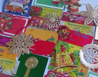 Kitsch 70's Vintage ~ Christmas Gift Tags & Embellishments ~ Metallic Gold ~ Oh So Retro!