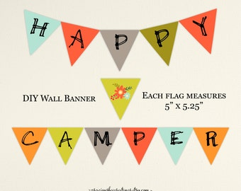 Happy Camper Party Banner - Instant Download - K9008.d