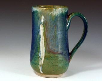 Purple Blue Mug, Coffee Mug 16 oz, handmade ceramic Mug, Pottery coffee cup with figure.