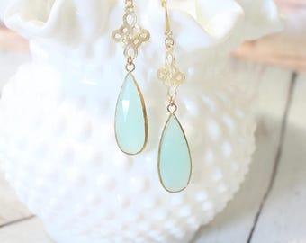 The Merideth -Aqua Dangle - Light Gold Earrings
