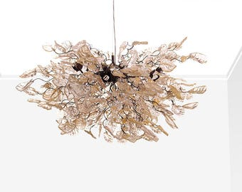 Hanging chandeliers with Gold leaves and flowers for dinning table or living room - unique lighting