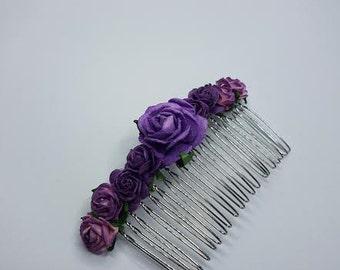 Purple Hair Comb, Bridal Hair Comb, Flower Hair Comb, Cadbury Purple, Purple Headpiece, Purple Hairpiece.