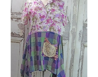 Purple Bohemian Dress Eco Fashion Women's Wearable Art Upcycled Clothing Country Dress Plus Size Lagenlook