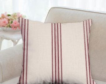 Farm Country Red Striped Pillow