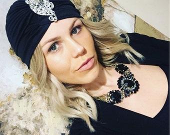 Black Turban For Woman, Hijabista Hat, Night Hat, Evening Black Hat, Sparkly Hat, Stylish Hat, Black Night Out Hat