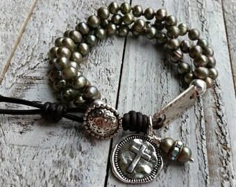 Bohemian Freshwater Pearls Cross Leather Bracelet