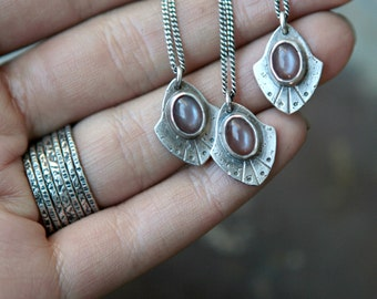 Mini Rogue Shield in Chocolate Moonstone - Moonstone Necklace - Sterling Silver Necklace - Moonstone Pendant - Charm Necklace - Rogue Shield