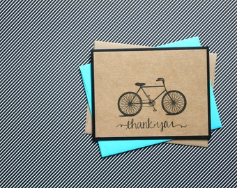 Bicycle Thank You Cards, Thank you Notes, Bike Thank Yous, Bike Thank you cards, Thank You Card Set, Bicycle, Bike, Handmade Bicycle Cards