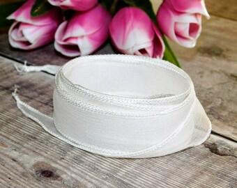 White Silk Ribbon for necklace yoga bracelet wedding jewelry