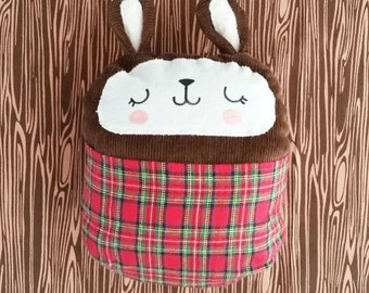 Stuffed bunny soft baby toy with bright plaid front pouch. Handmade.