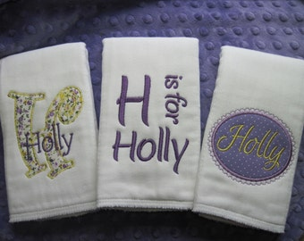 Personalized Baby Girl MINI Burp Cloths