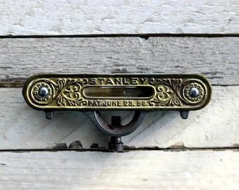 Stanley Antique Pocket Level Ornate Brass & Cast Iron Tool