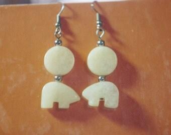 Creamy quartz polar bear earrings