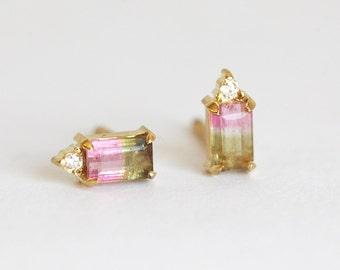 One Of a Kind Watermelon Tourmaline Studs, Tourmaline Earrings, Toumaline Diamond Earrings, Diamond Earrings, Gemstone Earrings, Minimalvs