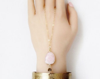 Cuff bracelet, engraved floral design, opal, pink stone, hand chain, 14K gold filled chain, adjustable