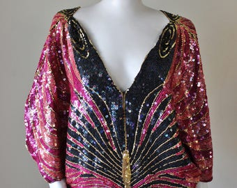 Butterfly sequin top, vintage, pink, black, magenta, gold, embellished, trophy top, Couture by Neil Bieff & Arturo Herrera.