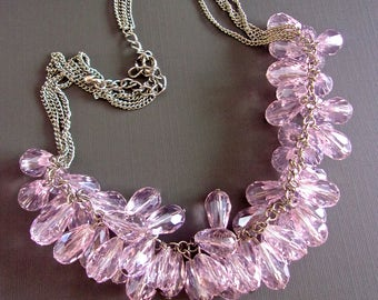 Pink-Lavender Crystal Cluster Necklace, Cha Cha Tear Drop, Silver Tone, Vintage