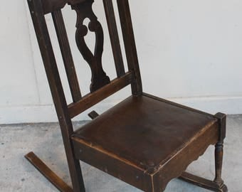 Petite antique rocking chair for knitting or nursing or just rocking! Original oilcloth leatherette seat cover.