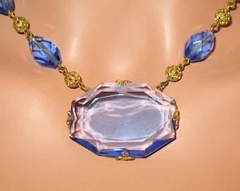 1920s Necklace, Art Deco Necklace, Art Nouveau Necklace, 1930s, Czechoslovakia, Czech Glass Necklace, Antique Faceted Blue Glass  Necklace