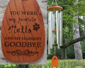 "Personalized Chimes - Dog Loss - ""You Were My Favorite Hello / Paw Print"" - Pet Loss - Dog Chime - Dog Memorial - Dog Sympathy - Windchimes"