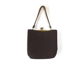 1940s purse, 40s purse, brown vintage purse, brown vintage bag, wool bag, handbag