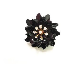 Flower brooch, vintage brooch, black brooch, flower pin, black brooch, black, rhinestone brooch, plastic brooch, vintage brooch 1960s brooch